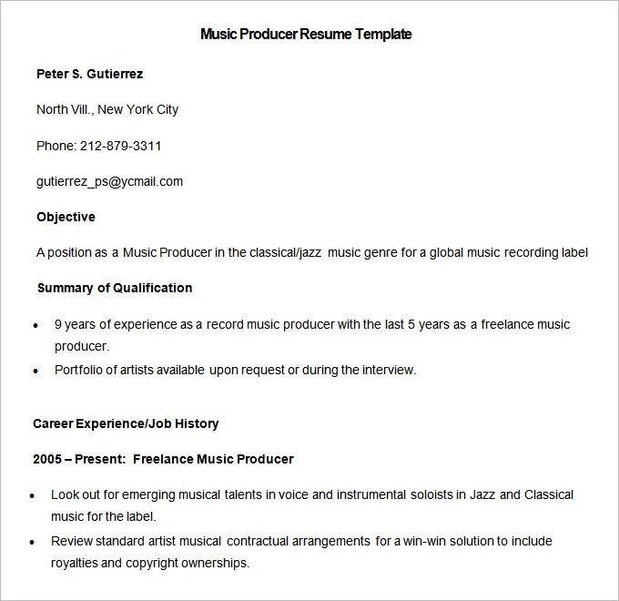 Media Resume Template \u2013 31+ Free Samples, Examples, Format Download - Sample Music Resume