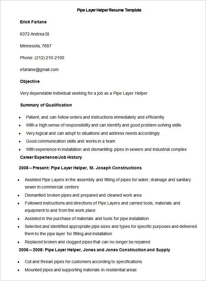 resume template helper
