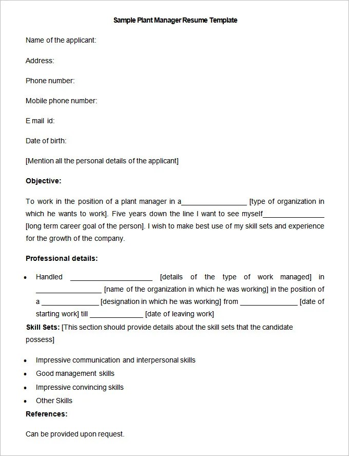 Manufacturing Resume Template \u2013 26+ Free Samples, Examples, Format - plant manager resume