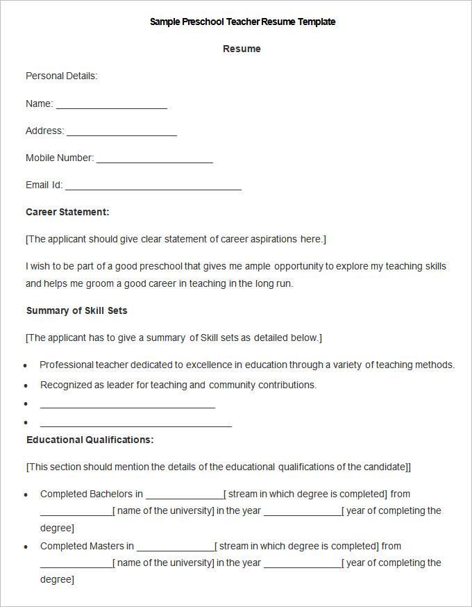 50+ Teacher Resume Templates - PDF, DOC Free  Premium Templates - good teacher resume