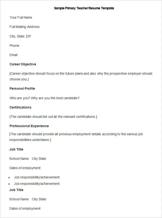 7 Teachers Resume Samples And Formats Download Now 51 Teacher Resume Templates – Free Sample Example Format