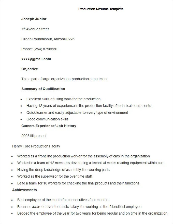 Manufacturing Resume Template \u2013 26+ Free Samples, Examples, Format - production resume template