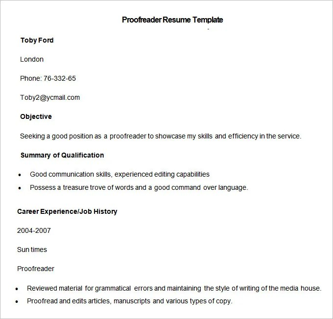 Media Resume Template \u2013 31+ Free Samples, Examples, Format Download