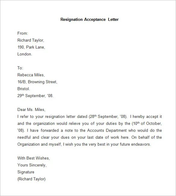 Professional Resignation Letter Sample Word Document – Word Format of Resignation Letter