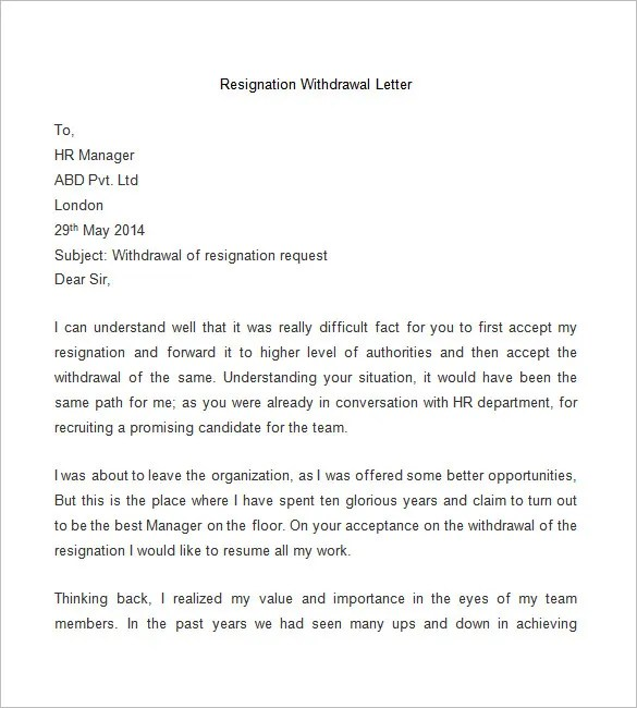 Resignation Letters Sample Letters Resignation Letter Template 25 Free Word Pdf Documents