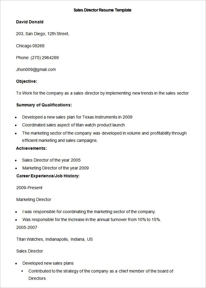 sales resume template u2013 41 free samples examples format director resume examples - Board Of Director Resume