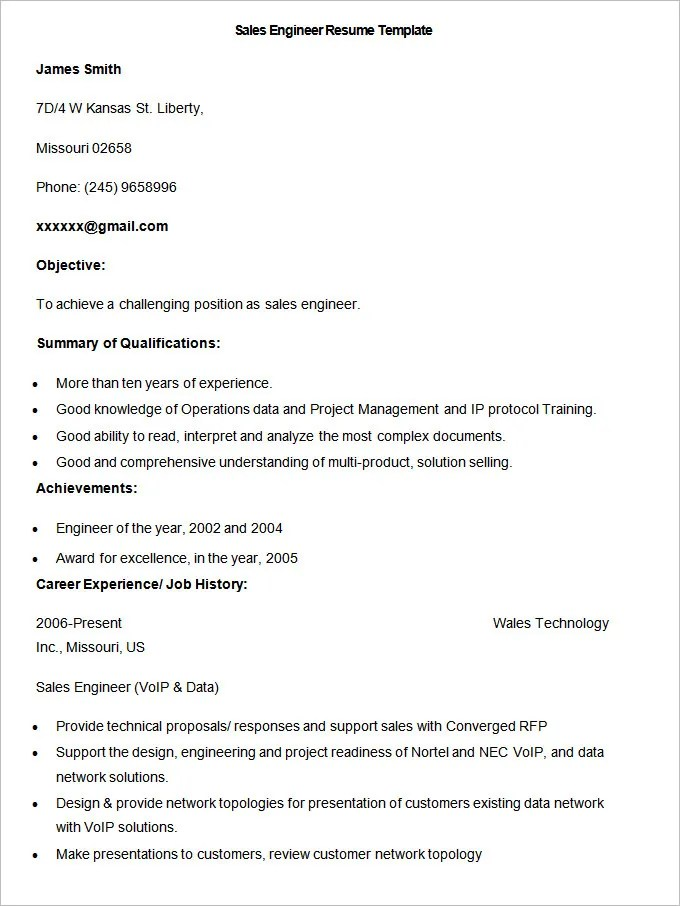 Sales Resume Template \u2013 41+ Free Samples, Examples, Format Download