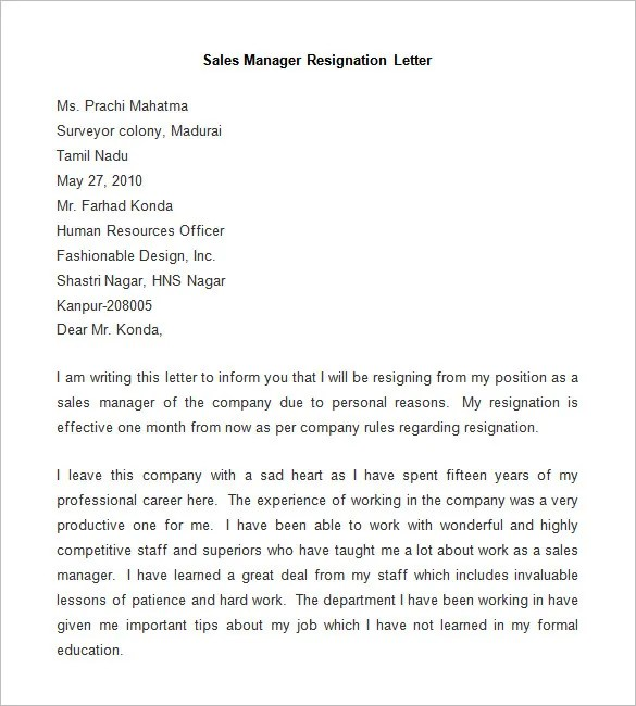 Resignation Letter Sample In Ms Word Format – Word Format of Resignation Letter