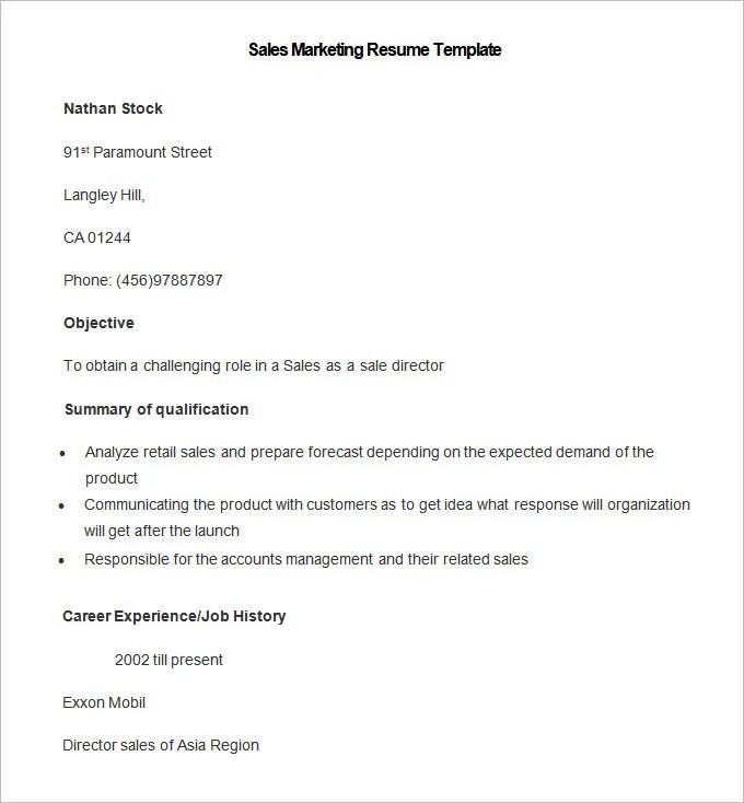 Marketing Resume Template \u2013 37+ Free Samples, Examples, Format - marketing resume templates
