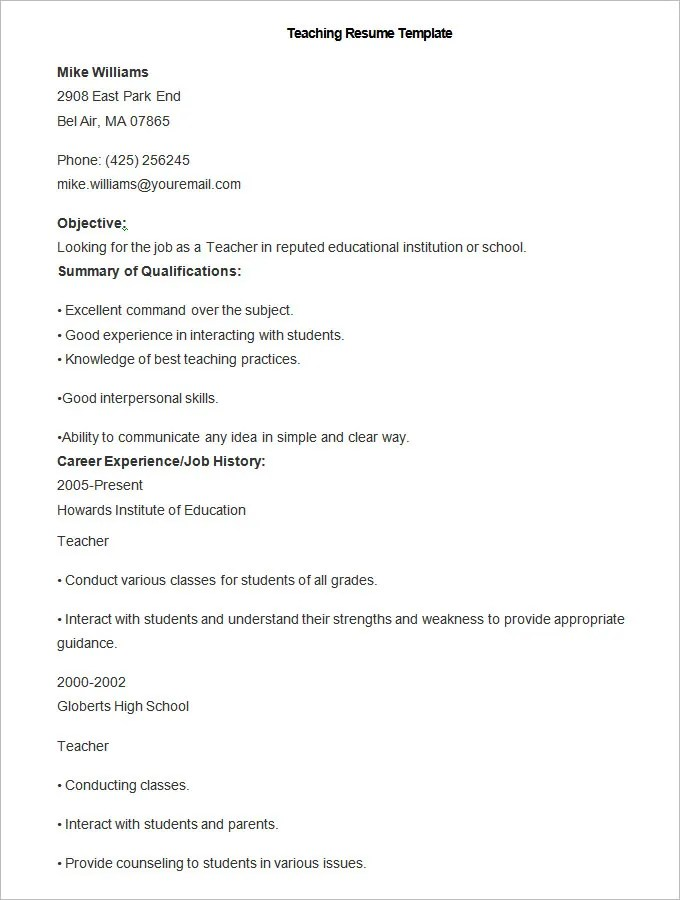 51+ Teacher Resume Templates u2013 Free Sample, Example Format - free template resume