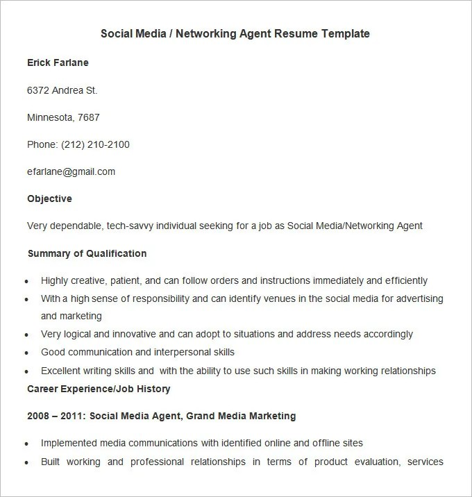 Marketing Resume Template \u2013 37+ Free Samples, Examples, Format - social media resume examples