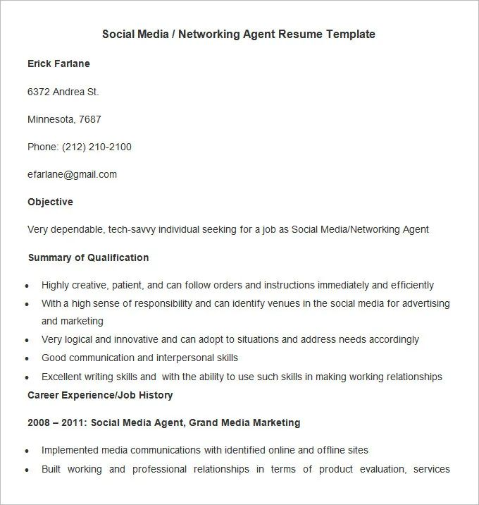 marketing social media resume example