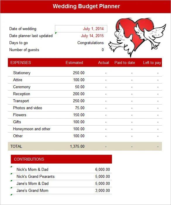 wedding spreadsheet budget templates