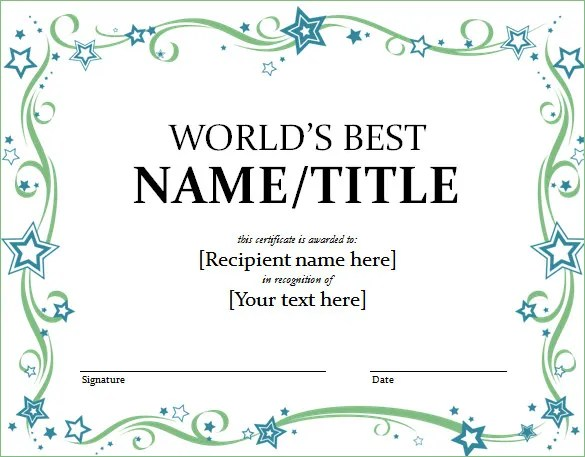 Word Certificate Template - 51+ Free Download Samples, Examples