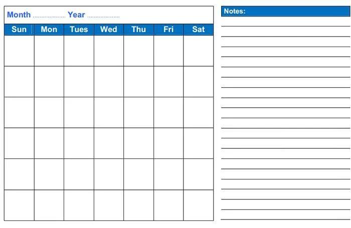 template monthly calendar 2015