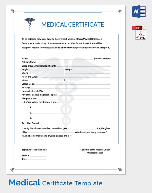 doctor certificate sample
