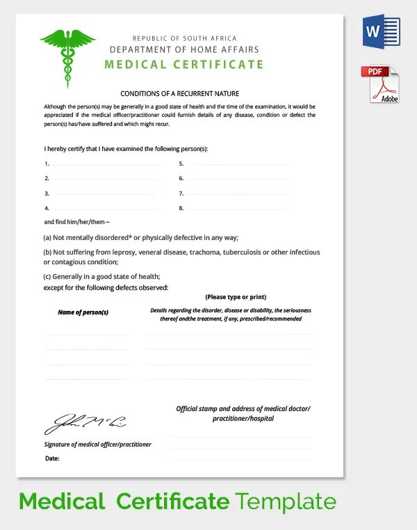 Medical Claim Form Template – Download Medical Certificate