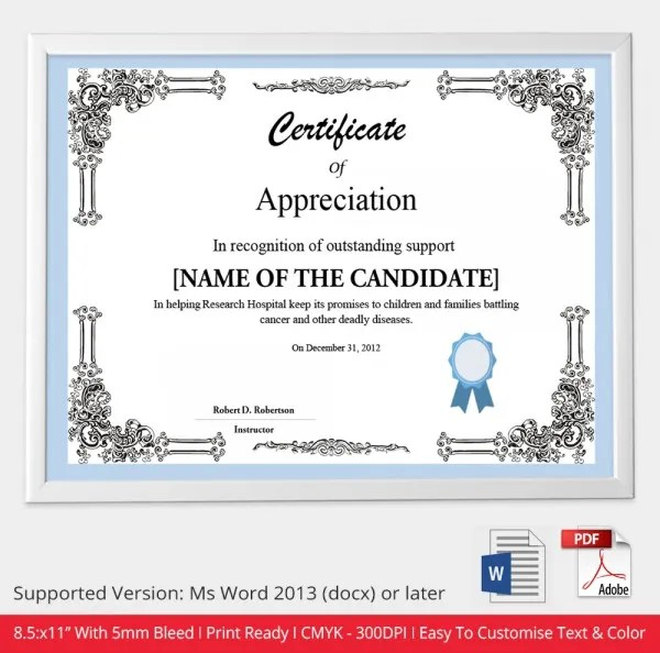 8 Free Printable Certificate Of Appreciationreference Letters Words - free appreciation certificate templates