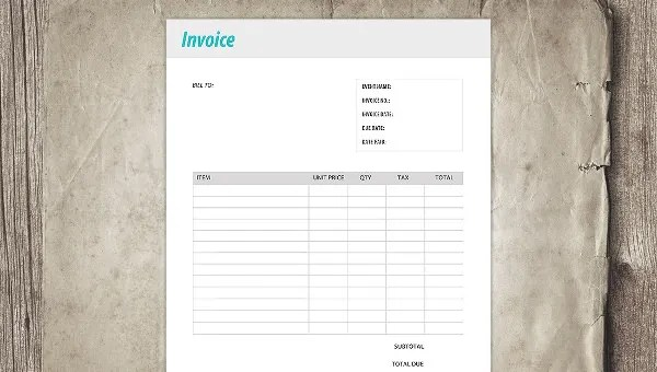47+ Blank Invoice Templates - AI, PSD, Google docs, Apple Pages