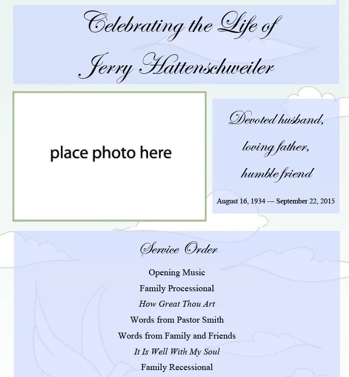 25+ Funeral Program Templates - PDF, PSD Free  Premium Templates - memorial service invitation wording