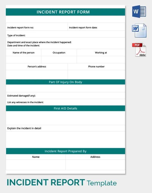accident incident report form sample - Minimfagency - incident reporting template