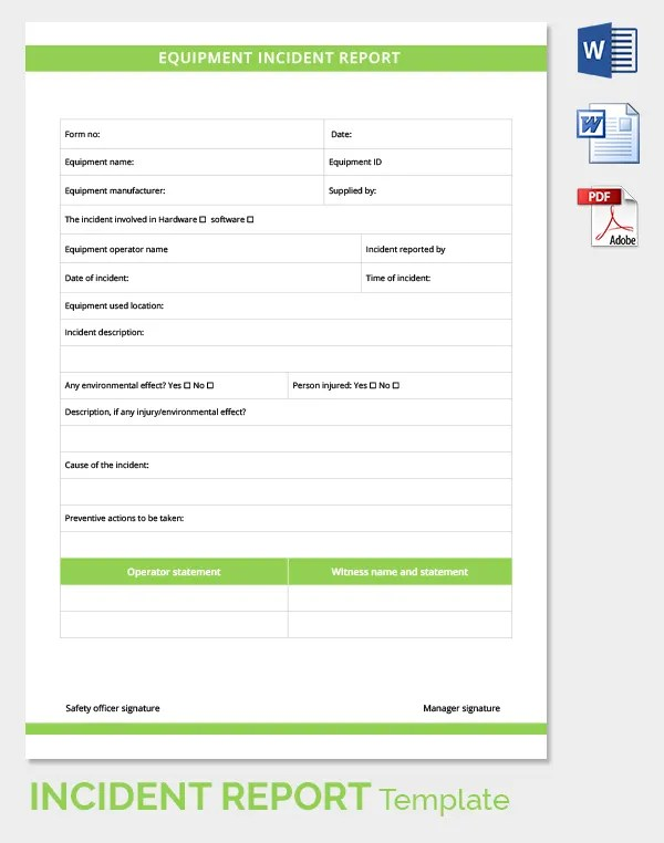24+ Incident Report Template - Free Sample, Example, Format Free - incident reporting template