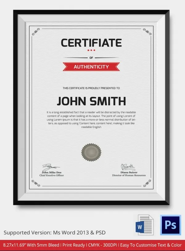 Free Printable Certificate Authenticity Template  Certificate Of - free printable certificate of authenticity templates