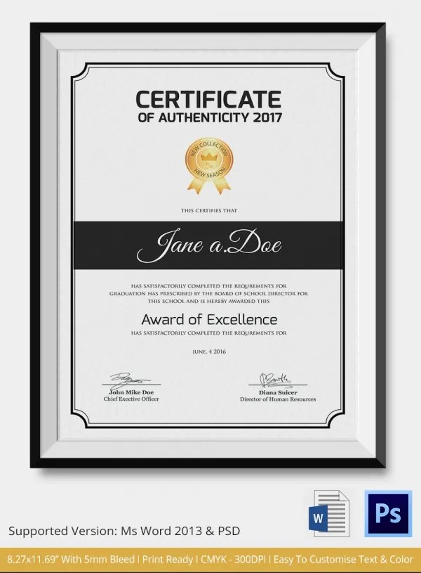 Certificate Of Authenticity Template Word - mandegarinfo - free printable certificate of authenticity templates