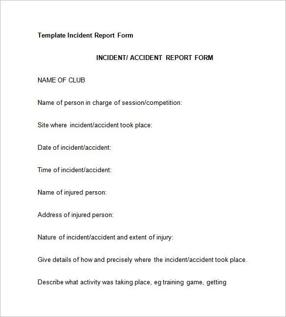 37+ Incident Report Templates - PDF, DOC, Pages Free  Premium - accident report template