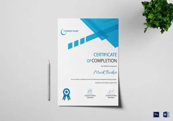 Certificate of Completion Template - 34+ Free Word, PDF, PSD, EPS - certificate of completion sample