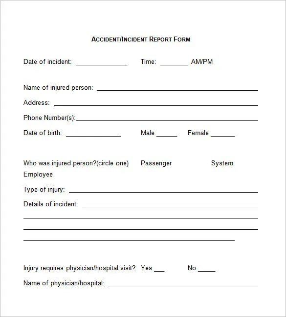 Incident Report Template - 37+ Free Word, PDF Format Download Free - accident reports template