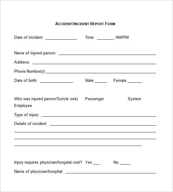 employee incident report forms
