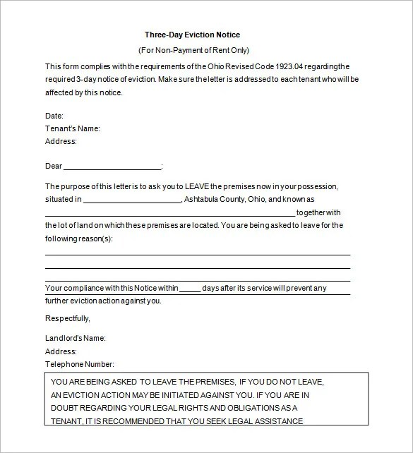 Eviction Warning Letter Template - Letter Idea 2018 - eviction notice template