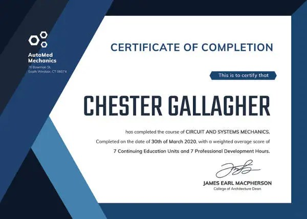 sample course completion certificate template course completion