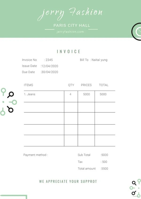 Unique Invoice Template For HTML Invoice Template Free Download - Free Basic Invoice Template