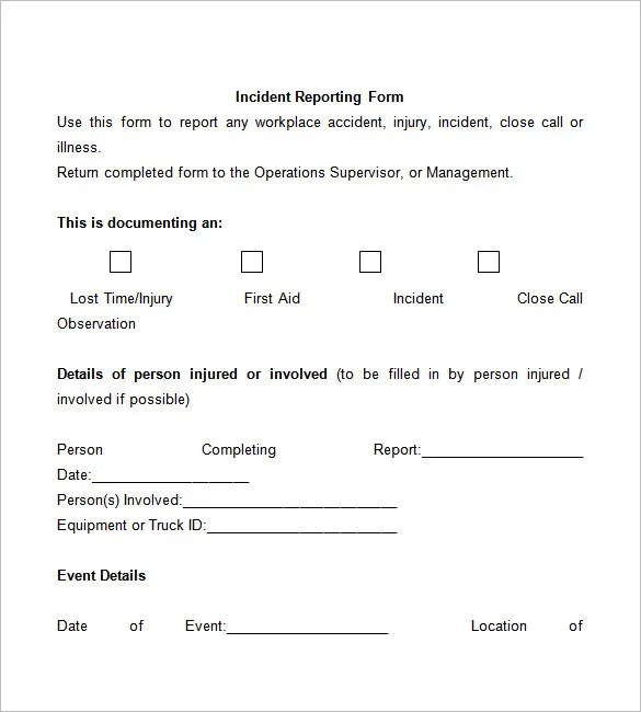 Incident Report Template - 37+ Free Word, PDF Format Download Free - Accident Report Template
