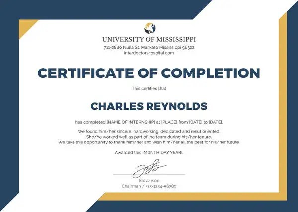 Certificate of Completion Template - 34+ Free Word, PDF, PSD, EPS