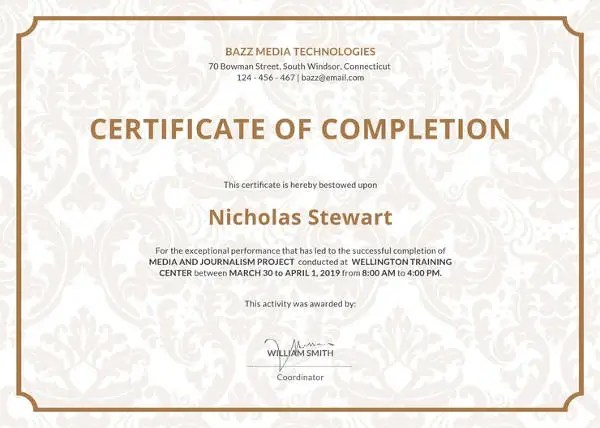 Certificate of Completion Template - 34+ Free Word, PDF, PSD, EPS - cpe certificate template