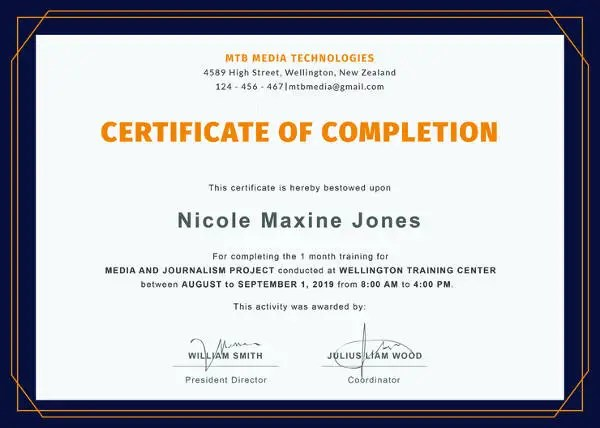 Certificate of Completion Template - 34+ Free Word, PDF, PSD, EPS - certificate of completion of training template
