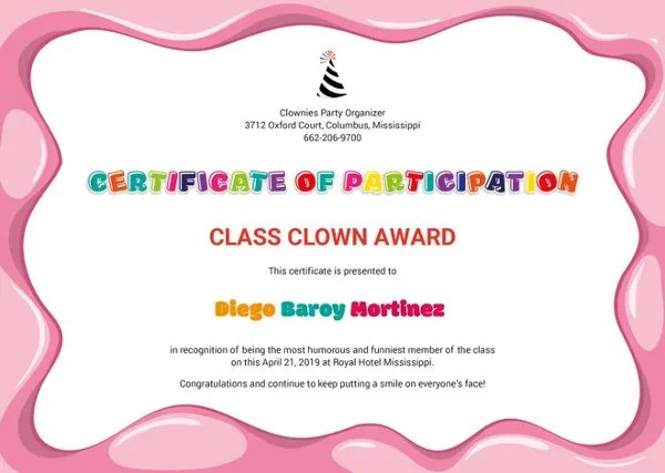 82+ Free Printable Certificate Template - Examples in PDF, Word - class certificates template