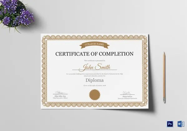 Certificate of Completion Template - 34+ Free Word, PDF, PSD, EPS - certification of completion sample
