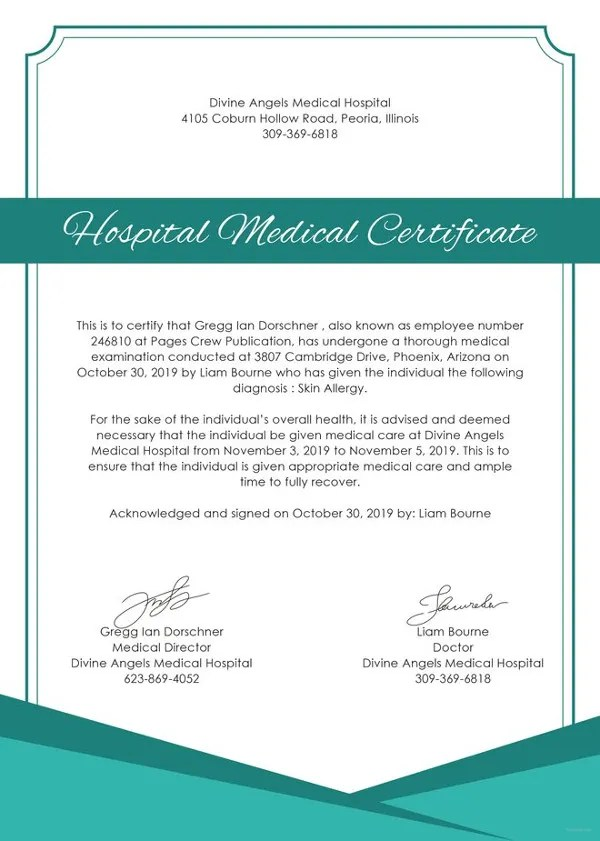 21+ Medical Certificate Templates Free Word  PDF
