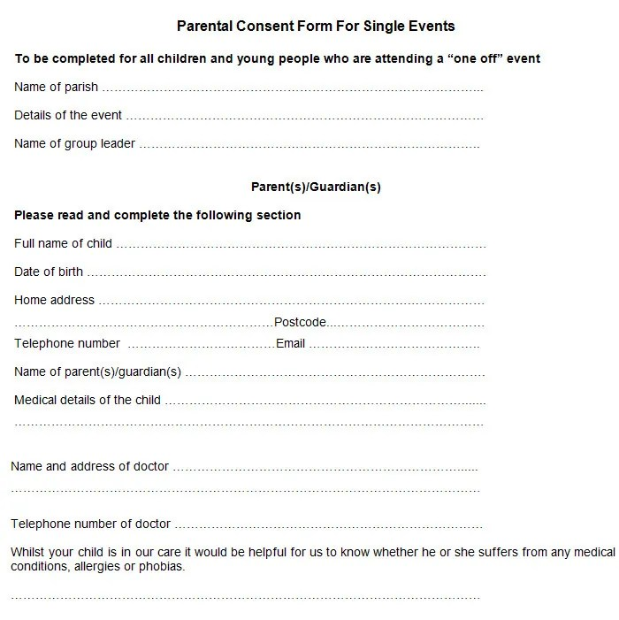 Sample Parental Consent Form Free  Premium Templates - parent consent forms