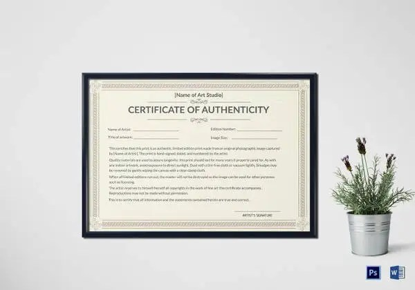 Certificate of Authenticity Template - 27+ Free Word, PDF, PSD