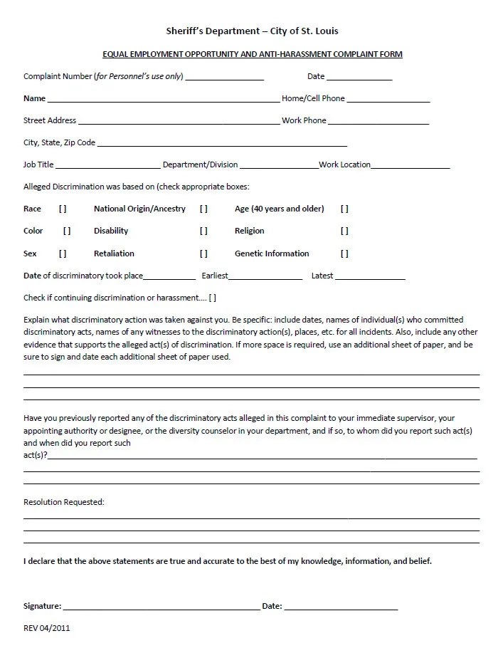 employee complaint form template trattorialeondoro - sample civil complaint form