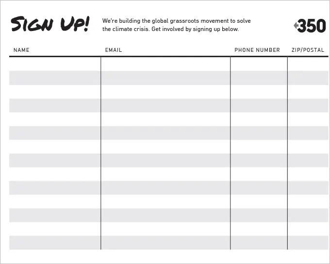 Sign Up Sheets - 60+ Free Word, Excel, PDF Documents Download - email sign up sheet template word