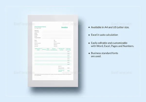 28+ Blank Invoice Templates Free \ Premium Templates - pages invoice template