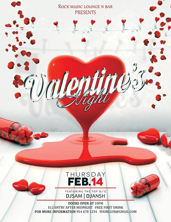 53+ Fabulous PSD Valentine Flyer Templates  Designs Free