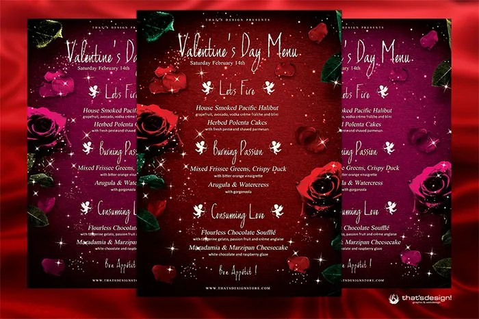Valentines Day Menu Template - Costumepartyrun - valentines day menu template