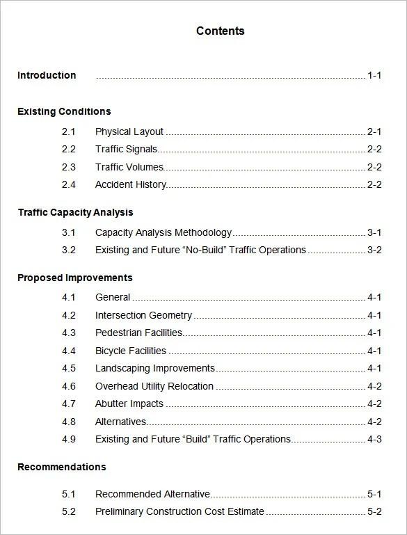 24 + Table of Contents - PDF, DOC Free  Premium Templates